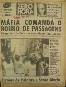 Zero Hora, 14 de janeiro de 1984 (capa)