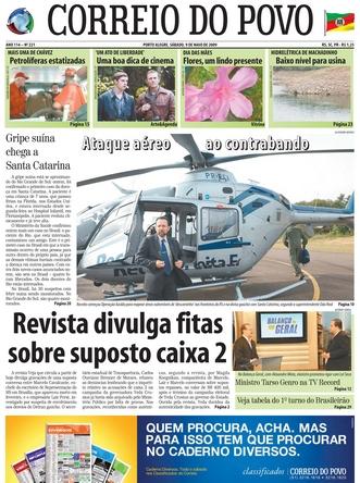 Correio do Povo, capa de 09/05/2009