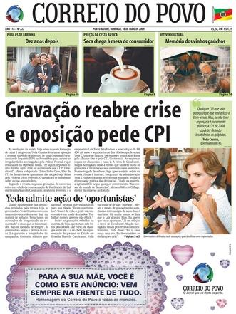 Correio do Povo, capa de 10/05/2009