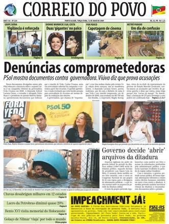 Correio do Povo, capa de 12/05/2009