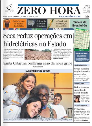Zero Hora, capa de 09/05/2009