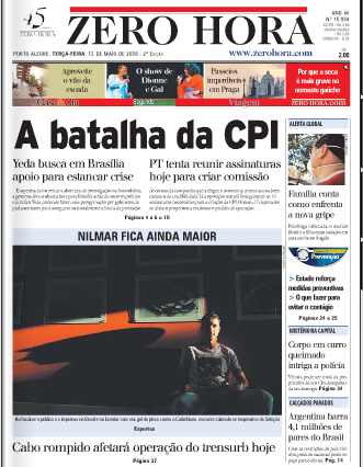 Zero Hora, capa de 12/05/2009