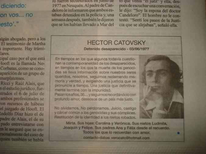 No jornal Página 12 de 03/06/2013, pequenos anúncios lembravam desaparecimentos que faziam aniversário naquele dia.