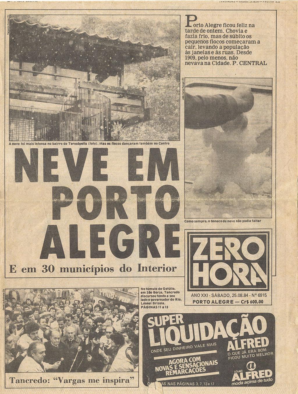 Capa da Zero Hora, 25/08/1984